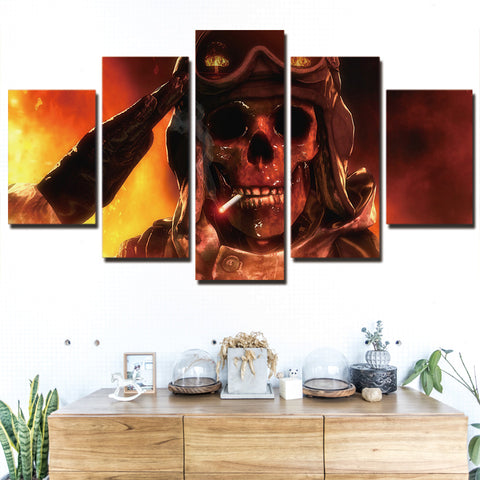 Fire Smoking Army Skull 5 Piece Canvas