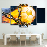 Football Fire Chains 5 Piece Canvas