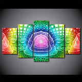 Psychedelic Colorful Buddha Zen 5 Piece Canvas