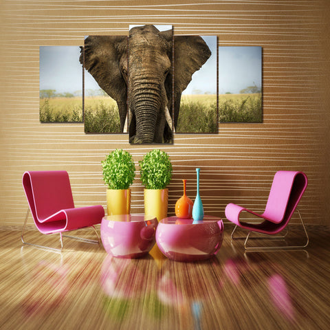 African Elephant 5 Piece Canvas