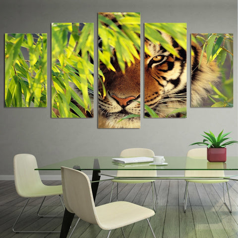 Tiger Hiding 5 Piece Canvas