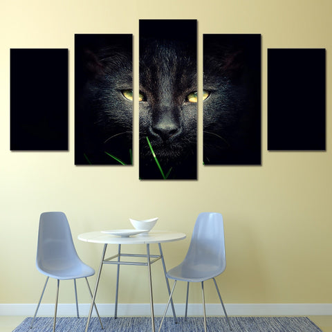 Black Cat 5 Piece Canvas