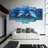 Blue Dolphin 5 Piece Canvas
