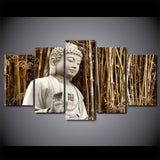 Buddha with Bamboos 5 Piece Canvas