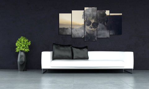 Day of the Dead Face in Gray 5 Piece Canvas