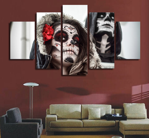Day of the Dead Face Painted 5 Piece Canvas