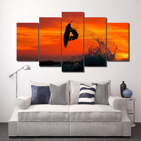 Extreme Surfing 5 Piece Canvas