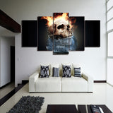 Flame Skull 5 Piece Canvas