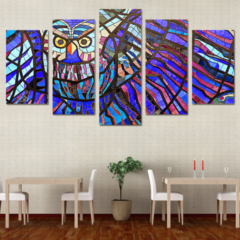 Colorful Owl 5 Pieces Canvas