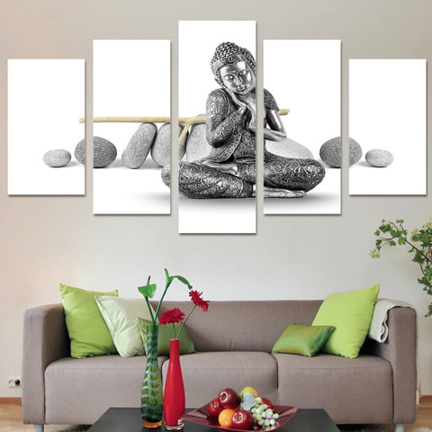 Stone Buddha 5 Piece Canvas