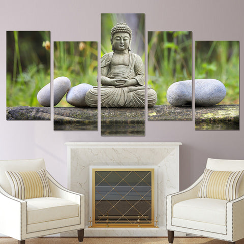 Meditating Buddha with Stone 5 Piece Canvas