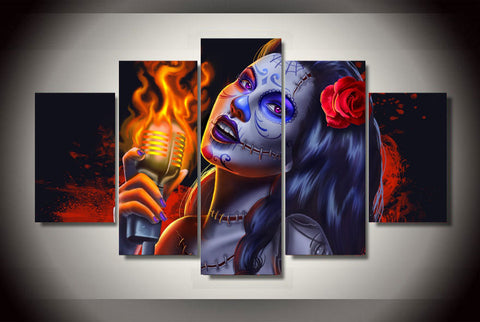 Day of the Dead Face Singing 5 Piece Canvas