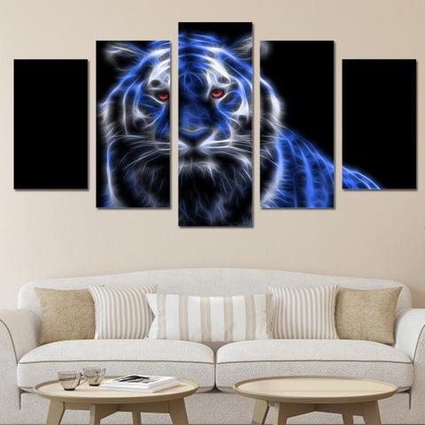 Blue Glowing Tiger 5 Piece Canvas