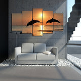 Dolphin in Sunset 5 Piece Canvas