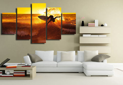 Surfing with Golden Waves 5 Piece Canvas