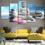 Stones with Flower Buddha 5 Piece Canvas