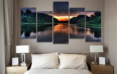 Sunrise at Lake 5 Piece Canvas