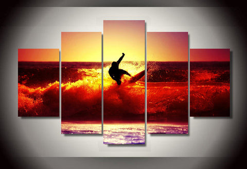 Surfing in Golden Wave 5 Piece Canvas