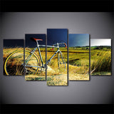 Vintage Bicycle in the Storm 5 Piece Canvas