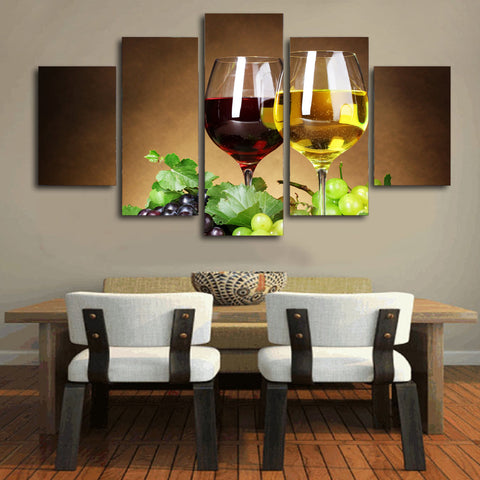 Red and Green Wine 5 Piece Canvas