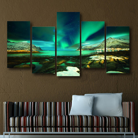 Islands with Green Aurora 5 Piece Canvas