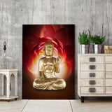 Buddha with Huge Flower 1 Piece Canvas