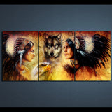 American Indians Wolf 3 Piece Canvas