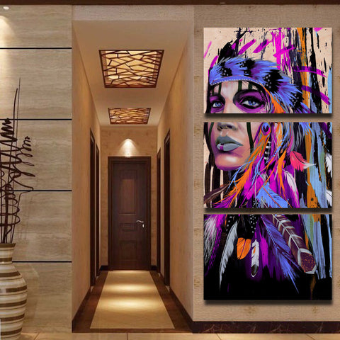 Native American Indian with Purple Feather 3 Piece Canvas