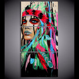 American Indian with Red Feather 3 Piece Canvas