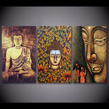 Color Buddha 3 Piece Canvas