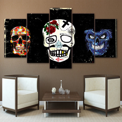 Black and White Sugar Skull Rose 5 Piece Canvas