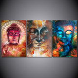 Colorful Zen Buddha 3 Piece Canvas