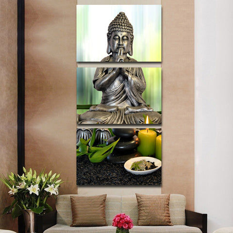 Stones with Flower Buddha 3 Piece Canvas