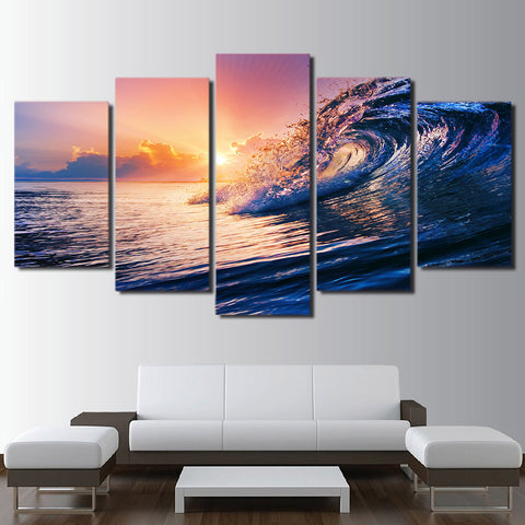 Summer Wave Sea 5 Piece Canvas