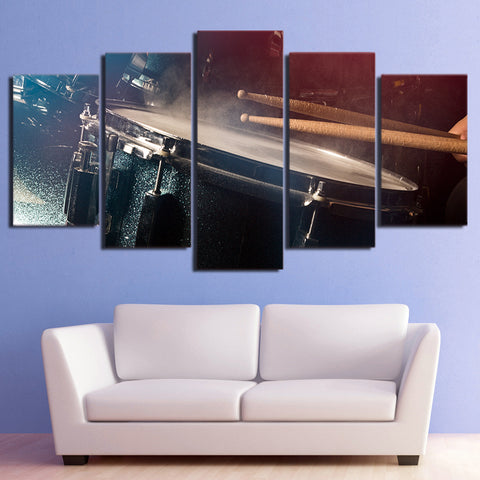 Snare Drum and Sticks 5 Piece Canvas