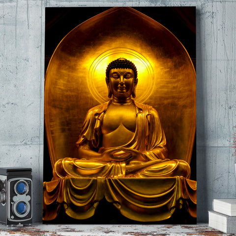 Buddha Golden Zen 1 Piece Canvas