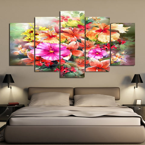 Bouquet of Flowers  5 Piece Canvas
