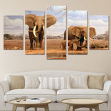 African Family Elephants 5 Piece Canvas