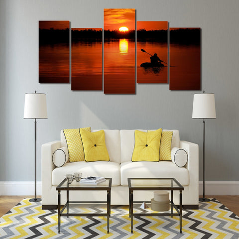 Lake Sunset Boat Sail  5 Piece Canvas