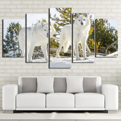 Two White Wolves 5 Piece Canvas
