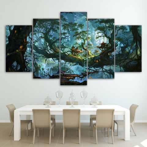 Fantasy Houses Magic Forest 5 Piece Canvas