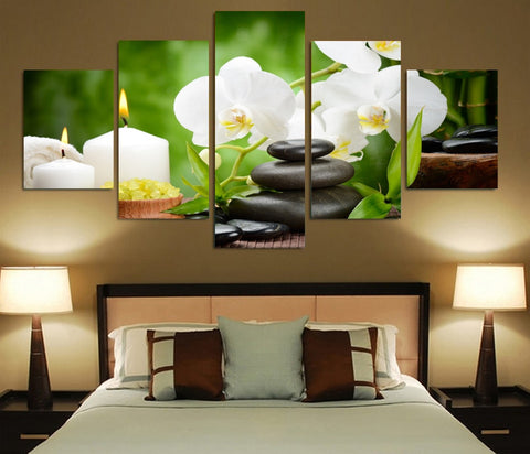 Orchids Stone Candle 5 Piece Canvas