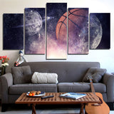Basketball Starry Sky 5 Pieces Canvas