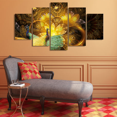 Peacock Golden Feather 5 Piece Canvas
