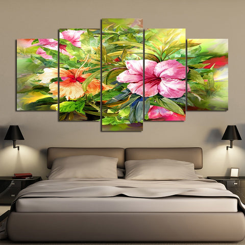 Hibiscus Flower 5 Piece Canvas