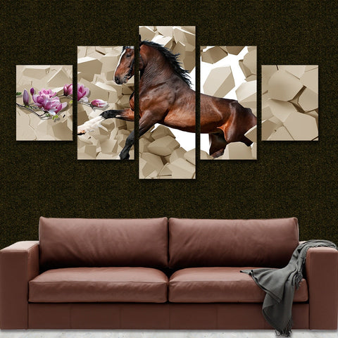 Horse Flower 5 Piece Canvas