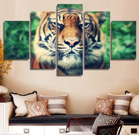 Tiger Muzzle Eyes 5 Piece Canvas