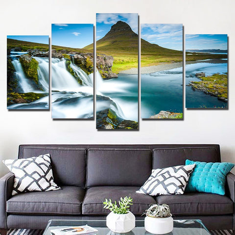Iceland Waterfall River 5 Piece Canvas