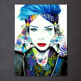 Love Hurt Hope War by Pixie Cold Art 1 Piece Canvas