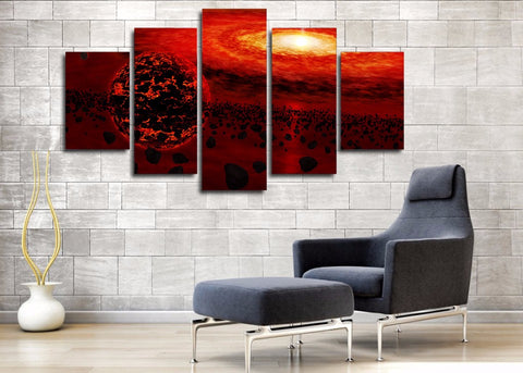 Red Universe & Planet 5 Piece Canvas